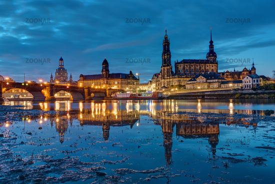 The landmarks of Dresden with the river Elbe at night