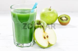 Grüner Smoothie Saft Apfel grün Kiwi Spinat Glas Fruchtsaft Frucht Früchte