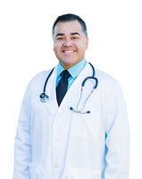 Attractive Hispanic Male Doctor or Nurse on White