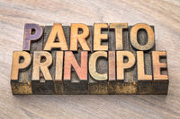 Pareto principle word abstract in wood type