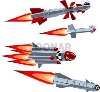 Cartoon military missile set