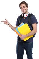 Student junger Mann zeigen Werbung Marketing jung lachen Jugendlicher Freisteller