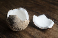 Coconut on wooden table