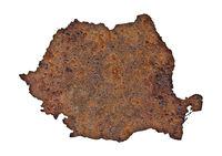 Karte von Rumänien auf rostigem Metall - Map of Rumania on rusty metal