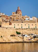 The view of Valletta city from  Kalkara over the Grand harbor, Malta.