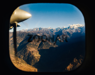 The Himalayas from a plane, Nepal