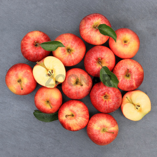 Äpfel Apfel rot Obst Schiefertafel quadratisch Frucht Früchte von oben