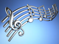 Silver music notes and treble clef on musical strings on blue background.
