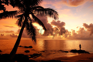Colorful sunrise  on the beach in Lavena village in Taveuni Island, Fiji