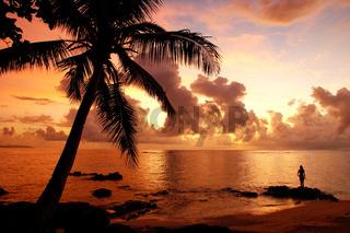 Colorful sunrise  on the beach in Lavena village in Taveuni Island, Fiji