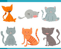 adorable cats and kittens characters set