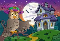 Owl near haunted house theme 1