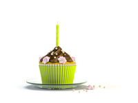 delicious cupcake with a candle