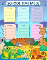 Weekly school timetable composition 3 - picture illustration.