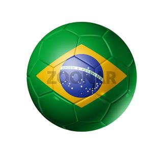 Soccer football ball with brazil flag