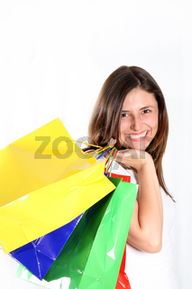 Junge, glücklich Frau mit bunten Tüten- happy woman comes with colorful bags