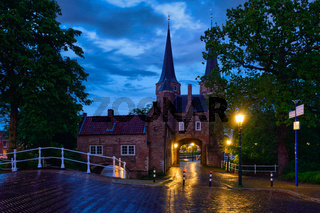 Oostport (Eastern Gate) of Delft at night. Delft, Netherlands