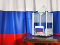 Ballot box with flag of Russia  and voting papers. Russian presidential or parliamentary election.