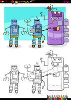 robots fantasy characters group coloring book