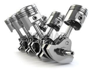 V6 engine pistons and crankshaft isolated on white background.