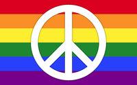 LGBT Rainbow Flag With Peace Symbol
