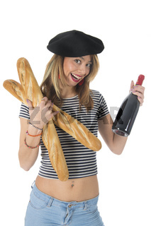 French young girl with bread and wine