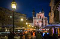 Ljubljana, capital of Slovenia, at night.