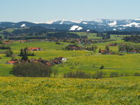 View from the Siggener Hight to the Wetterstein and Nagelfluhkette, Allgäu, Germany