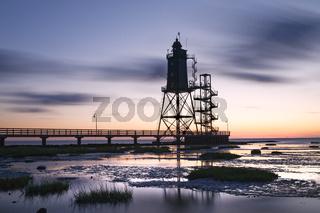 Leuchtturm Obereversand beim Fischerhafen von Dorum-Neufeld, Niedersachsen, Deutschland, Europa