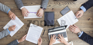 Business team working with contract