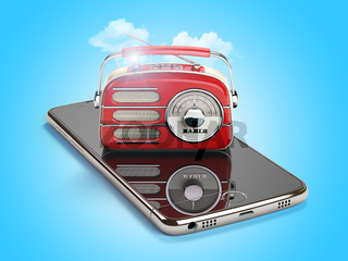 Smartphone with red vintage radio. Mobile AM FM radio live streaming media concept.