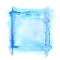 Blue square watercolor frame