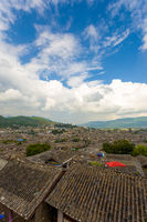 Lijiang Old Town Traditional Tiled Rooftops View