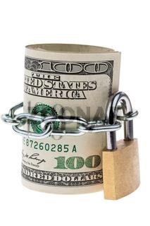 Dollar Geldscheine sind mit einem Schloss versperrt
