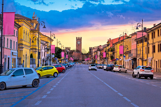 Villafranca di Verona street and landmarks sunset view