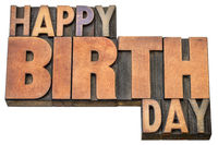 Happy Birthday word abstract in wood type