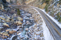 Poudre River canyon in winter