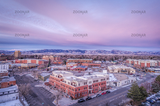 Fort Collins downtown aerial view