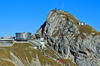 Upper station Kulm of the Pilatus railway, Hotel Bellevue and the Esel summit,Pilatus,Switzerland