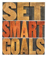 set smart goals word abstract