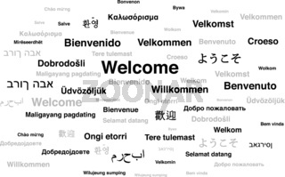 Welcome phrase in different languages of the world