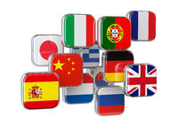Languages translationor online translator concept. Flags isolated on white.