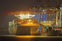 Container ship at night, Hamburg harbor, container terminal Tollerort, Hamburg, Germany, Europe