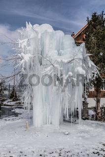 Ein Baum mit Eis bedeckt