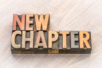 new chapter word abstract in wood type