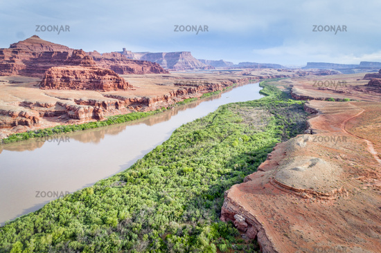 Canyon of Colorado River in Utah aerial view