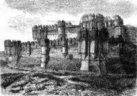 General view of the Alcazar of Segovia, vintage engraving.