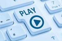 Play Button drücken Musik Film hören Internet Computer Tastatur blau