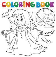Coloring book vampire girl theme 1 - picture illustration.