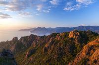 Les Calanche de Piana at sunset, Corsica, France